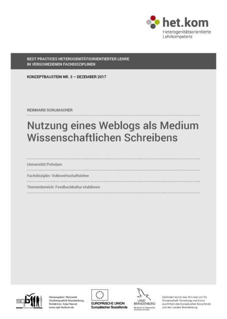Nutzung eines Weblogs als Medium wissenschaftlichen Schreibens