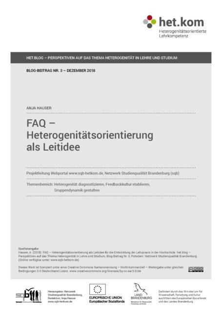 FAQ –  Heterogenitätsorientierung als Leitidee
