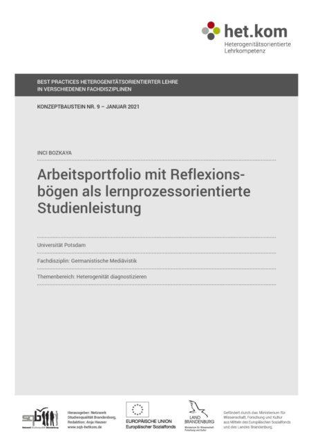Arbeitsportfolio mit Reflexionsbögen als lernprozessorientierte Studienleistung