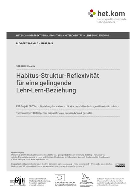Habitus-Struktur-Reflexivität für eine gelingende Lehr-Lern-Beziehung